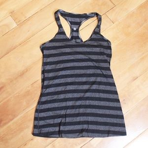 Lululemon Grey Black Stripe Racer Back Tank Top